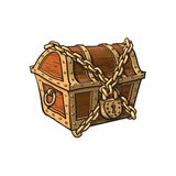 Vector closed locked chained wooden treasure chest. Isolated illustration on a white background. Flat cartoon symbol of adventure, pirates, risk profit and Stock Images