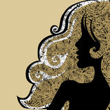 Vector Closeup decorative vintage grunge woman Royalty Free Stock Photos