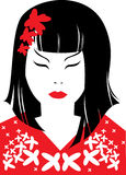 Vector closeup portrait of japanese woman Royalty Free Stock Photo