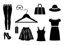 Vector clothes icon set in black color on white background Stock Photos