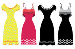 Woman summer dresses.Vector clothes isolated on wh Royalty Free Stock Photography