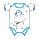 Vector clothes for newborn of dancing white fat cat with old cassette player in 80th or 90th style stock illustration