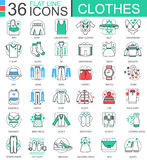 Vector Clothes shoes flat line outline icons for apps and web design. Clothes shoes icon. Stock Photo