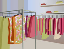 Vector clothes in shop Stock Images