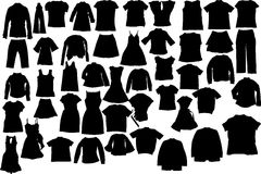 Vector clothes silhouettes Royalty Free Stock Image
