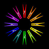 Vector Clothespin Color Wheel Royalty Free Stock Photos