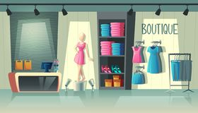 Vector clothing shop interior, fashion boutique inside. Vector clothing shop interior - wardrobe with woman clothes, cartoon mannequin and stuff on hangers stock illustration