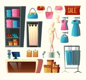 Vector clothing shop set, fashion boutique collection. Vector clothing shop set - wardrobe with clothes, dressing room and other elements isolated on white Royalty Free Illustration