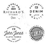 Vector clothing theme badges. in vintage typography style. Vector clothing theme badges. Authentic denim, cloth fabric and other apparel related phrases in logos Stock Photography