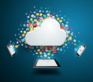 Vector cloud computing concept with colorful application icon Royalty Free Stock Image