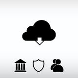 Vector cloud computing download icon, vector illustration. Flat Royalty Free Stock Images