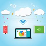Vector cloud computing to your smartphone, laptop Royalty Free Stock Photography