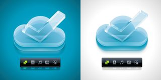 Vector cloud computing XXL icon. Detailed cloud with glass check mark icon with cloud computing related pictograms