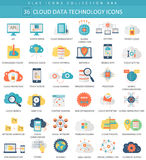 Vector Cloud data technology color flat icon set. Elegant style design. Stock Photography