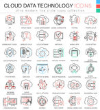Vector Cloud data technology database ultra modern color outline line icons for apps and web design. Stock Photo