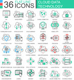 Vector Cloud data technology ultra modern color outline line icons for apps and web design. Stock Image