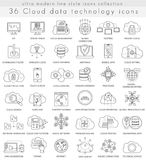 Vector Cloud data technology ultra modern outline line icons for web and apps. Stock Image