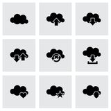 Vector cloud icon set. On grey background Stock Photography
