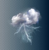 Vector cloud and lightnings Royalty Free Stock Photography