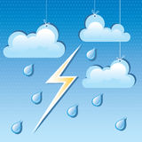 vector cloud, rain drops and lightning Royalty Free Stock Image