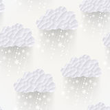 Vector cloud seamless pattern with snowflakes, hipster backgroun. D made of triangles Retro background with snowfall cloud. Square composition with geometric Stock Photography