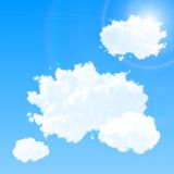 Vector cloud set. Blue sky with clouds and flare. Royalty Free Stock Image