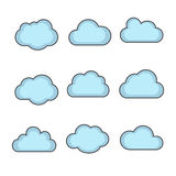 Vector cloud shapes set, cloud icons for cloud computing for web Stock Photos