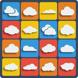Vector cloud shapes set. Cloud shapes  set, cloud icons with blend shadows for cloud computing for web and app Stock Images