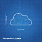 Vector cloud sketch with blueprint background. Royalty Free Stock Images