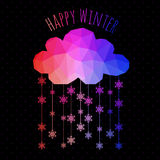 Vector cloud with snowfall, winter background made of triangles. Royalty Free Stock Photography