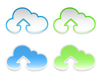 Vector cloud stickers with arrows, set of four Royalty Free Stock Photo