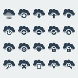 Vector cloud technologies icons set Stock Photos
