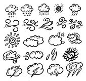 Vector clouds doodle collection set. Weather hand drawn forecast elements. stock illustration