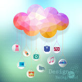 Vector: clouds e-commerce concept, site template i Royalty Free Stock Images
