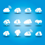 Vector clouds icons set with upload and download theme for your. Design royalty free illustration