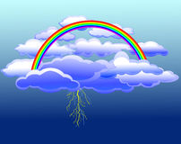 Vector clouds, rainbow, lightning. Clouds, lightning, a rainbow in the sky in the vector Royalty Free Stock Photo