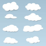 Vector clouds set. In blue sky Royalty Free Stock Photography