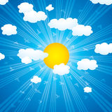 Vector clouds, sun rays and flying birds in the sk Stock Images