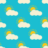 Vector clouds weather seamless pattern Stock Photos