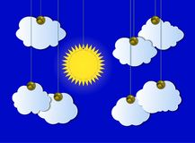 Vector Cloudy Sky, Sunny Weather, Pinned Cutout Clouds and Sun, Hanging Details. stock illustration