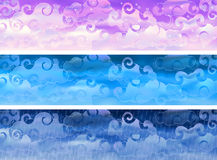 Vector cloudy sky weather banners. Three  cloudy sky weather banners (other landscapes are in my gallery Stock Image