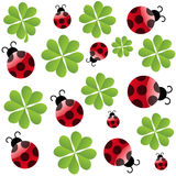 Vector clover leaf with ladybird Royalty Free Stock Image