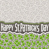 Vector Clover Pattern for St Patrick`s Day. Green Shamrock poster with border for greeting text, ornament clover foliage, gray shamrock pattern, floral vector illustration