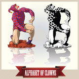 Vector clowns in a pose letters of the English alphabet Royalty Free Stock Photography