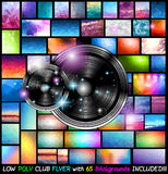 Vector Club Flyer with 65 low poly backgrounds included. Modern Club Disco Flyer Art for Music Event backgrounds with 65 Low Poly Background included! Ideal for Royalty Free Illustration