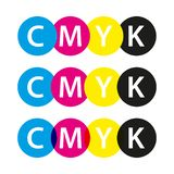 Vector cmyk symbols, cyan, magenta, yellow and black colors. Logos for your infographics and business templates royalty free illustration