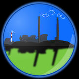 Vector Coal Fired Power Plant In Blue Orb Royalty Free Stock Images