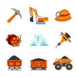 Vector coal industry flat icons set. Trolley and fuel, dynamite and underground, pick and manufacturing illustration royalty free illustration