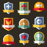 Vector coats of arms, shields, ribbons vector illustration