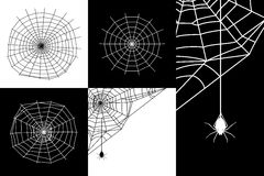Vector cobweb or spider web silhouettes set Royalty Free Stock Image